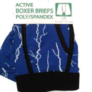 Men's boxer briefs blue lightning spandex M 32 34